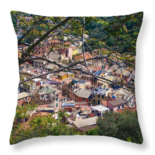 Monterosso Throw Pillow featuring the photograph Monterosso From Above - Cinque Terre by Dany Lison