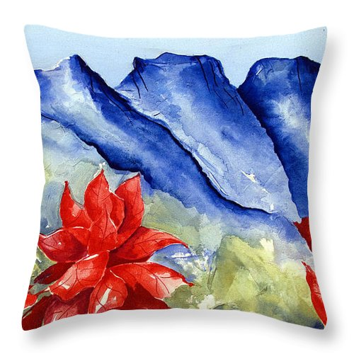 Mountains Throw Pillow featuring the painting Monterrey Mountains with Red Floral by Kandyce Waltensperger
