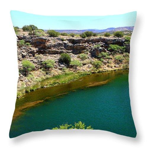 Montezuma Throw Pillow featuring the photograph Montezuma Well by Christiane Schulze Art And Photography