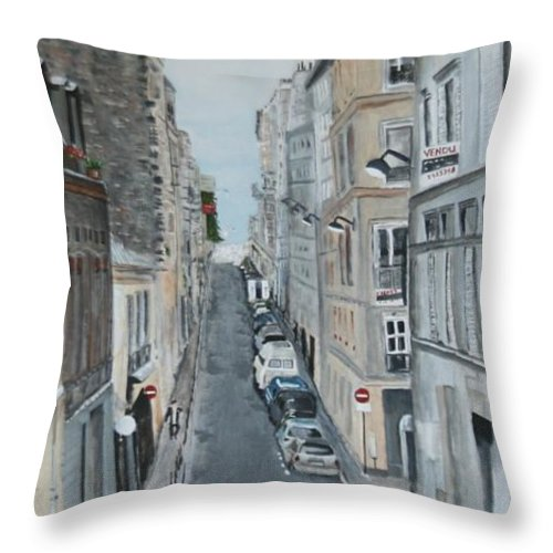Scenery Throw Pillow featuring the painting Montmartre Paris France by Betty-Anne McDonald