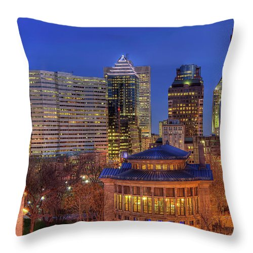 Tranquility Throw Pillow featuring the photograph Montreal Downtown At Dusk Hdr II by Jean Surprenant