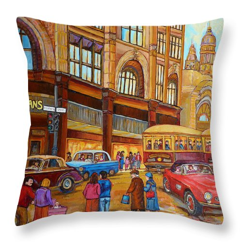 Montreal Throw Pillow featuring the painting Montreal Memories-streetcars-morgan's Department Store At St.catherine And Union by Carole Spandau