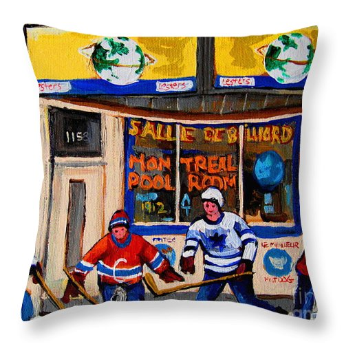 Montreal Throw Pillow featuring the painting Montreal Pool Room City Scene With Hockey by Carole Spandau