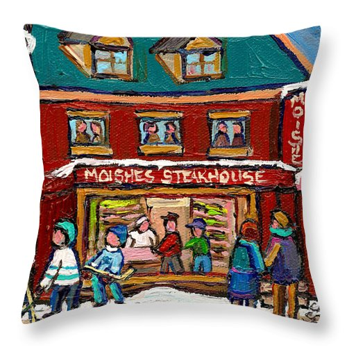 Moishes Steakhouse Throw Pillow featuring the painting Montreal Winter Hockey At Moishes by Carole Spandau