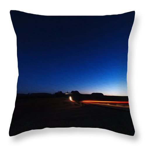 Monument Valley Throw Pillow featuring the photograph Monument Valley At Night 1 by Tracy Winter