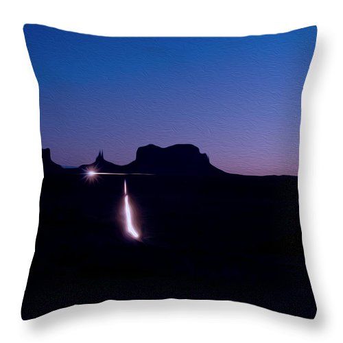 Monument Valley Throw Pillow featuring the photograph Monument Valley At Night by Tracy Winter