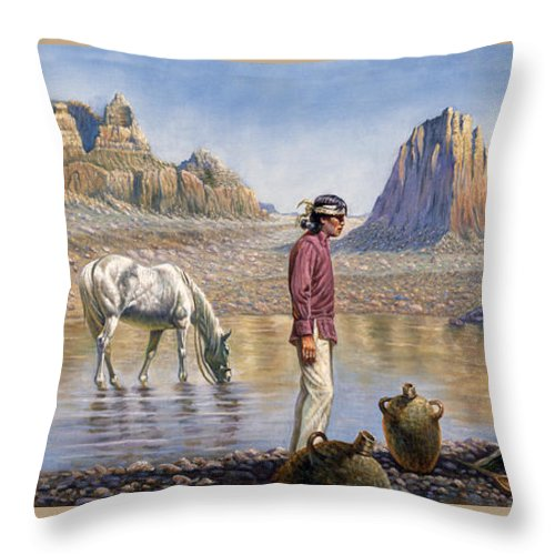 Gregory Perillo Throw Pillow featuring the painting Monument Valley by Gregory Perillo