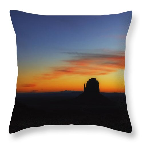 Monument Valley Sunset Throw Pillow featuring the photograph Monument Valley Sunset by Priscilla Burgers