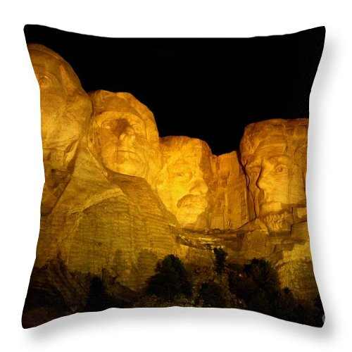 Mount Rushmore At Night Art Throw Pillow featuring the photograph Monumental Night Shot by John Malone