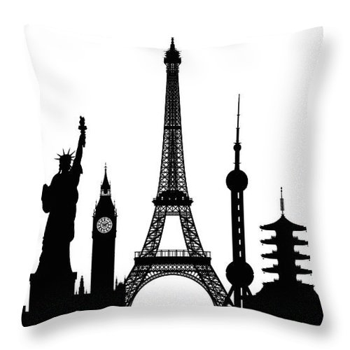 Clock Tower Throw Pillow featuring the digital art Monuments Buildings Are Complete And by Leontura