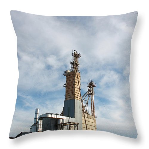 Railroad Throw Pillow featuring the photograph Moody Feed Tower by Big Texas Sky Prints