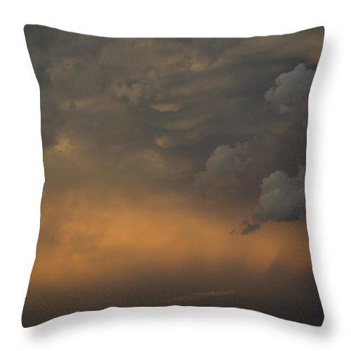 Cloud Throw Pillow featuring the photograph Moody Storm Sky Over Lake Ontario In Toronto by Georgia Mizuleva