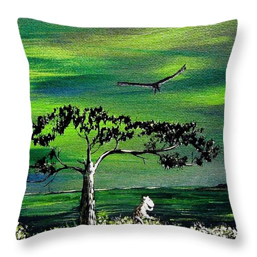Decotarive Throw Pillow featuring the painting Moomintroll And Lighthouse by Anastasiya Malakhova