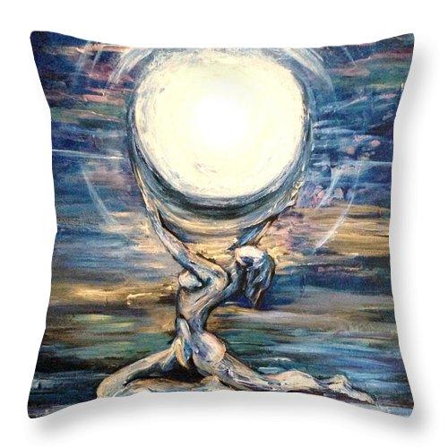 Moon Throw Pillow featuring the painting Moon Goddess by Karen Ferrand Carroll