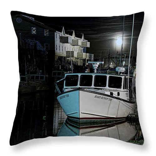 Architecture Throw Pillow featuring the photograph Moon Lit Harbor by Richard Bean