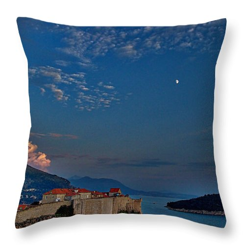 Dubrovnik Throw Pillow featuring the photograph Moon Over Dubrovnik's Walls by Stuart Litoff