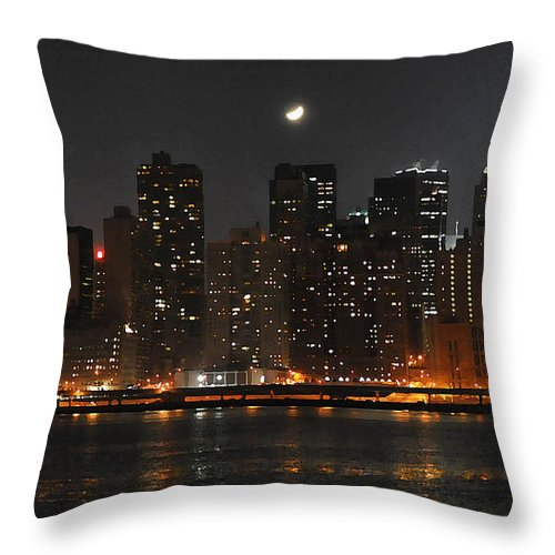 New York Cirty Throw Pillow featuring the photograph Moon Over Manhattan by Steve Archbold