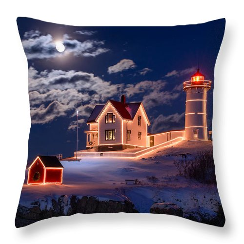 Cape Neddick Throw Pillow featuring the photograph Moon Over Nubble by Michael Blanchette