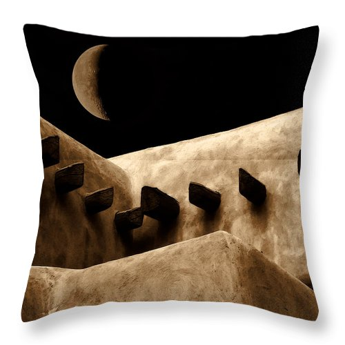 Moon Throw Pillow featuring the photograph Moon Over Santa Fe by Terry Fiala