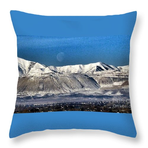 Moon Over Snow Covered Utah Mountains Throw Pillow featuring the photograph Moon Over The Snow Covered Mountains by Susan Garren