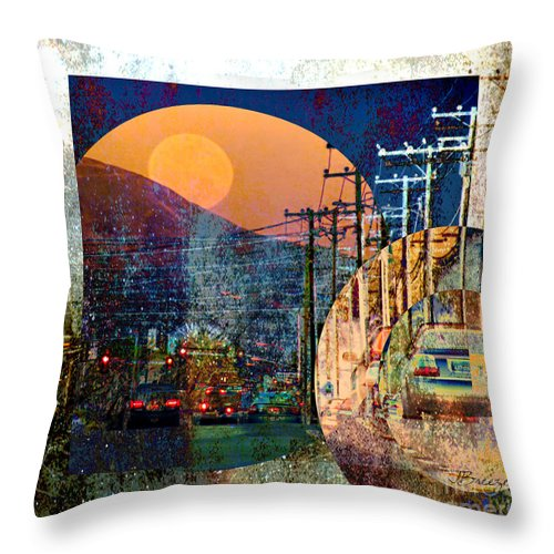 Digital Throw Pillow featuring the digital art Moon Rising by Jennie Breeze