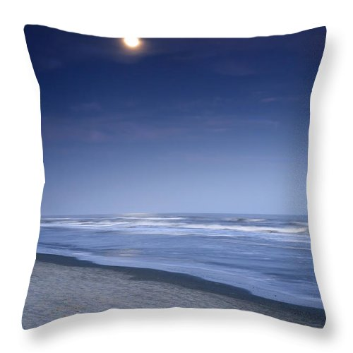 Beach Throw Pillow featuring the photograph Moon Rising Over Hilton Head by Phill Doherty