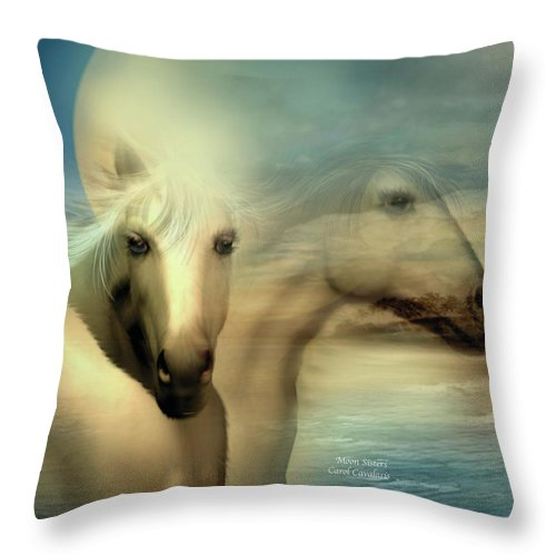Horse Throw Pillow featuring the mixed media Moon Sisters by Carol Cavalaris