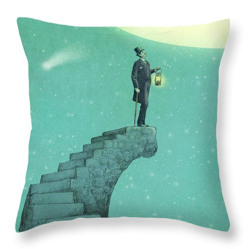 Moon Throw Pillow featuring the drawing Moon Steps by Eric Fan