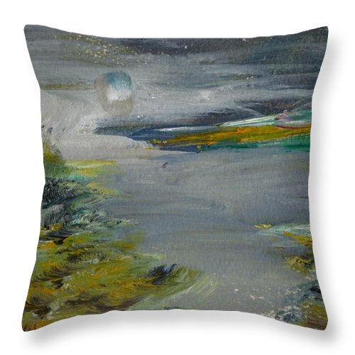Sea Throw Pillow featuring the painting Moonlight Bay by Edward Wolverton