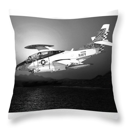 Aviation Art Of The North American T-2c Buckeye Throw Pillow featuring the drawing Moonlight Buckeye T 2c Training Mission by Jack Pumphrey