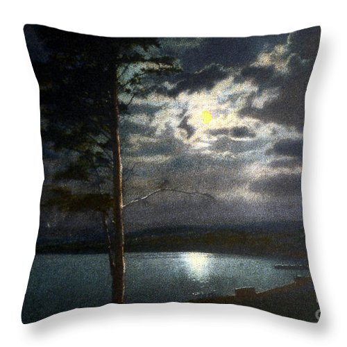 History Throw Pillow featuring the photograph Moonlight On Yellowstone Lake by NPS Photo Asahel Curtis