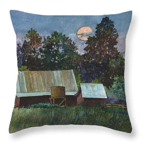 Moonlight Painting Throw Pillow featuring the painting Moonlight over Caribou by Anne Gifford