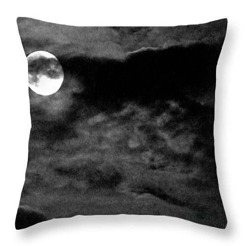 Nature Throw Pillow featuring the photograph Moonlit Clouds by Harold Zimmer