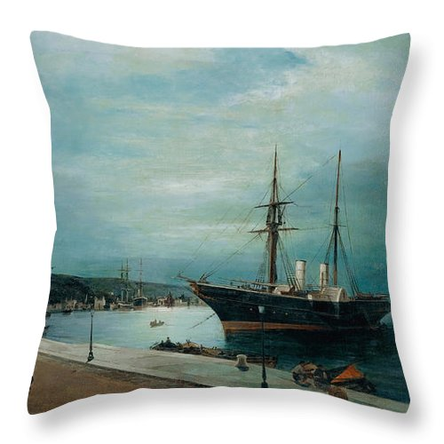 Konstantinos Volanakis Throw Pillow featuring the painting Moonlit Harbour Of Volos by Konstantinos Volanakis