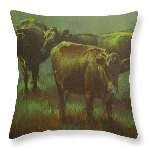 Cows Throw Pillow featuring the painting Moonlit by Mia DeLode