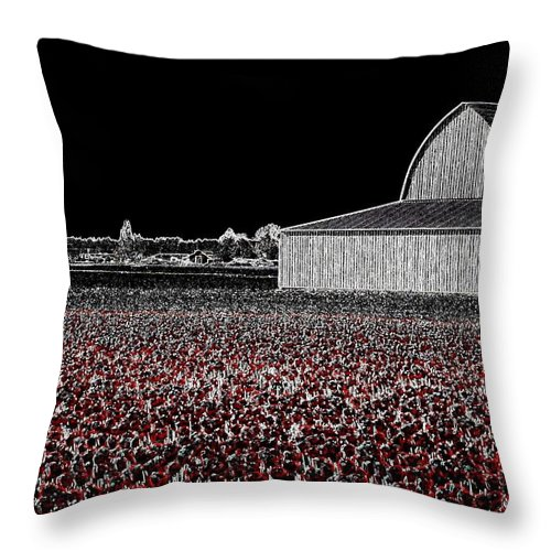 Tulips Throw Pillow featuring the digital art Moonlit Tulips by Will Borden