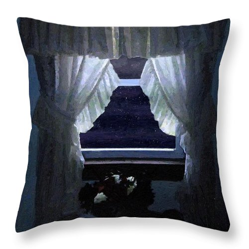 Window Throw Pillow featuring the painting Moonlit Window by RC DeWinter