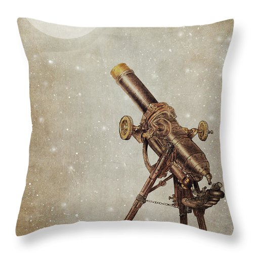 Moon Throw Pillow featuring the drawing Moonrise by Eric Fan