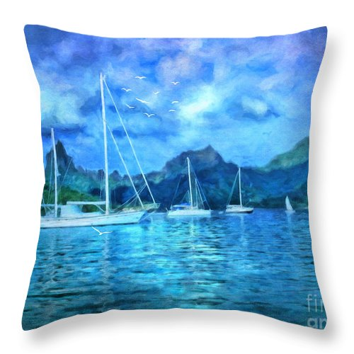 Mo'orea Throw Pillow featuring the digital art Moonrise In Mo'orea by Lianne Schneider