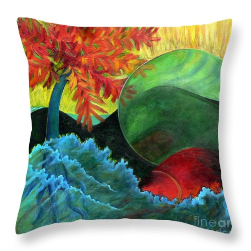 Surreal Landscape Throw Pillow featuring the painting Moonstorm by Elizabeth Fontaine-Barr