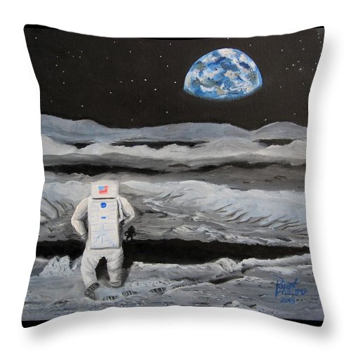 Moon Throw Pillow featuring the painting Moonwalker by Ryan Williams