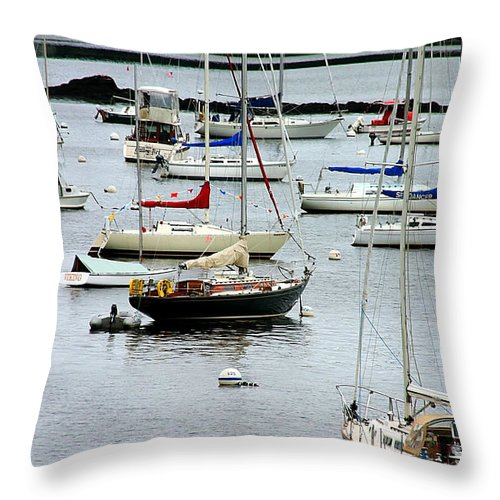 Denyse Duhaime Photography Throw Pillow featuring the photograph Moored At Kittery Point Maine by Denyse Duhaime