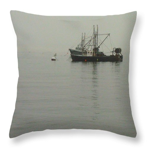 Fishing Boats Throw Pillow featuring the photograph Moored by Robert McCulloch