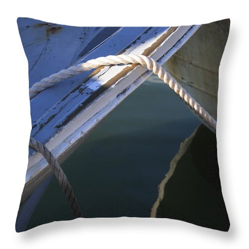 Anchoring Throw Pillow featuring the photograph Mooring Ropes On A Fishing Boat by Ulrich Kunst And Bettina Scheidulin
