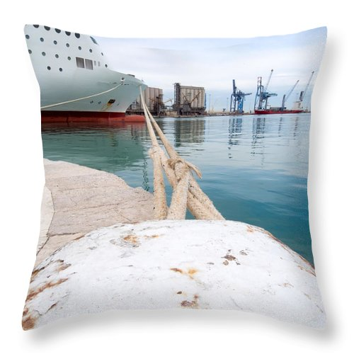 Blue Throw Pillow featuring the photograph Mooring by Roy Pedersen