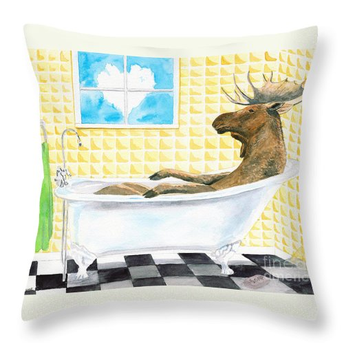 Moose Throw Pillow featuring the painting Moose Bath by LeAnne Sowa