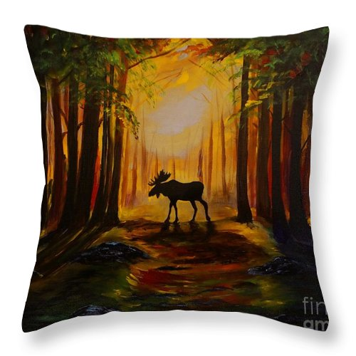 Moose Throw Pillow featuring the painting Moose Hideout by Leslie Allen