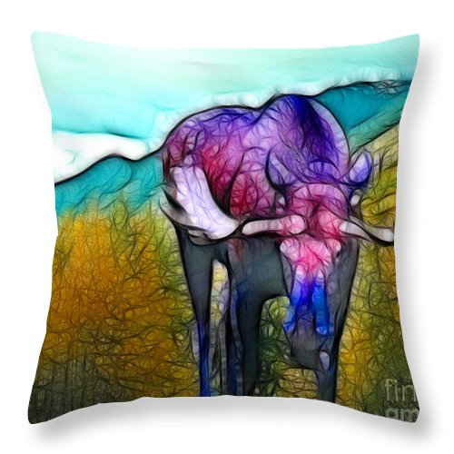 Moose Throw Pillow featuring the mixed media Moose in Pure Light by Francine Dufour Jones