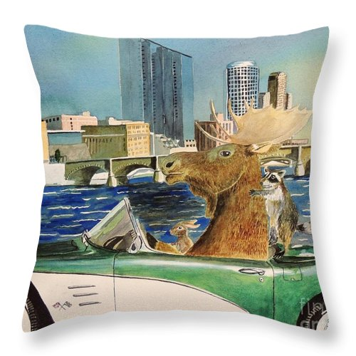 Moose Throw Pillow featuring the painting Moose Rapids Or Moose City Drive by LeAnne Sowa