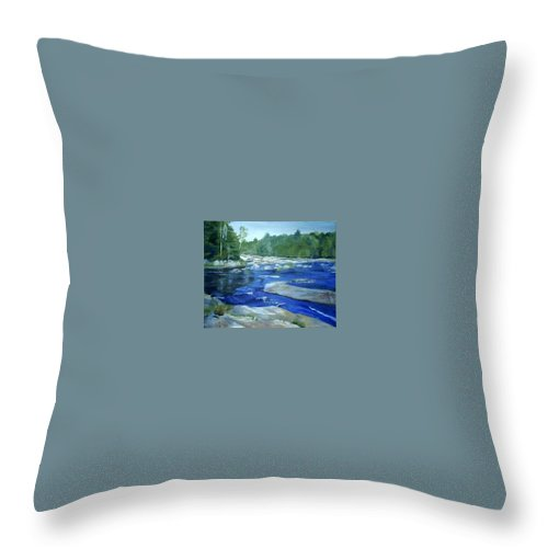 Moose River Throw Pillow featuring the painting Moose River Lyons Falls by Sheila Mashaw